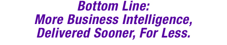 Bottom LIne: More Business Intelligence, Delivered Sooner, For Less